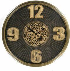 Eliassen Klok Met Tandwielen Donker Bruin 80cm | Wanddecoratie | Wandklokken | Diameter 80 | 1 Jaar Garantie