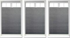 Relaxdays 3 x plissegordijn - plissé jaloezie grijs zonder boren - opvouwbaar 90x130