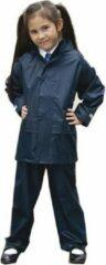 Marineblauwe Regenpak winddicht navy blauw voor meisjes - Regenjas / regenbroek - Regenkleding voor kinderen XL (152-164)