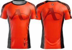 T-shirt Arawaza | dry-fit | oranje-zwart | maat S