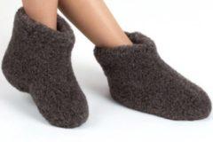 DINA Wollen sloffen 100% wol pantoffels -zwart hoog model- maat 41