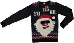 Merkloos / Sans marque Donker blauwe kersttrui kerstman voor volwassenen - Foute kersttruien heren/dames L