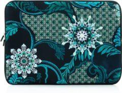 Blauwe Laptop sleeve tot 14 inch met bloemen – Zwart/Blauwgroen