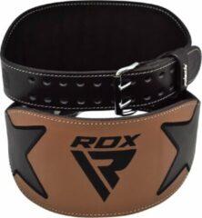 Bruine RDX Sports RDX Powerlifting Riem 15 cm - Small - Zwart - Leer