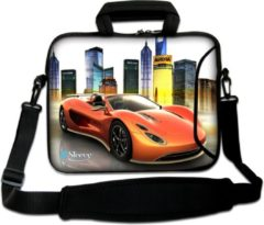 Oranje False Sleevy 17,3 laptoptas sports car - laptophoes voorvak - laptop sleeve - smalle laptoptas - reistas - schoudertas - schooltas - heren dames tas - tas laptop