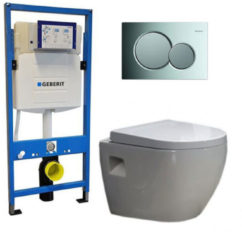 Douche Concurrent Geberit UP 320 Toiletset - Inbouw WC Hangtoilet Wandcloset - Daley Sigma-01 Glans Chroom