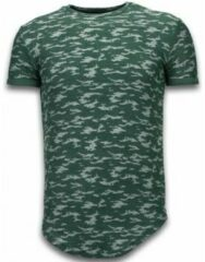 Groene T-shirt Korte Mouw John H Fashionable Camouflage T-shirt - Long Fit Shirt Army Pattern