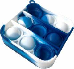 PEPPERLIN® • Blij Kind - Fidget - Pop it - Mini - Blauw - Wit - Marble - Vierkant - Sleutelhanger - Blauw - Wit