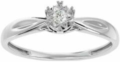 Aelra Joaillerie AELRA 14K wit gouden damesring, 0,05 ct natuurlijke ronde solitaire diamant