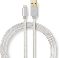 Grijze Nedis Sync and Charge Cable | Apple Lightning 8-pin Male - USB A Male | 3.0 m | Aluminium