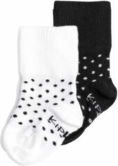 KipKep Blijf-Sokjes - Maat 0-6 mnd - Wit / Zwart met stip - 2 paar