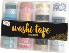 Blauwe Craft Sensations Washi Tape 40pcs X 3mtr | 40 verschillende designs | Bullet journal