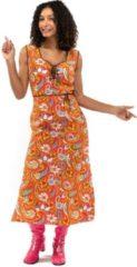 Original Replicas Hippie Kostuum | Oranje Lang Jaren 70 En 60 Hippie Bloemen Soul Disco Pretty Paisley | Vrouw | Small | Carnaval kostuum | Verkleedkleding