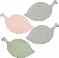 Donkergrijze Koziol Theezakjeshouder Leaf-on 14,3 Cm Grijs/groen/roze 4 Stuks