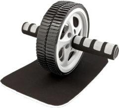 Zwarte Tunturi Dubbele Trainingswiel - Buikspiertrainer - Buikspierapparaat - Buikspierwiel - Ab wheel roller - Met Kniemat