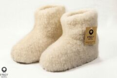 Fast wool Wollen sloffen - laars model - ecru - maat 39