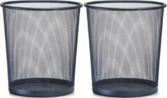 2x Antraciet grijze prullenbakjes/vuilnisbakjes rond van draadmetaal/mesh 26 x 28 cm - Zeller - Kantoorbenodigdheden - Bureau-accessoires - Mesh kantoor/bureau benodigdheden
