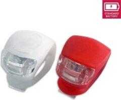 Rode Discountershop Fietsverlichting LED voorlicht en achterlicht siliconen set van 2 - Fiets verlichting voorlamp en achterlamp verlichtingsset - Fietslampjes kinderen fietsverlichtingsset waterdicht silicon
