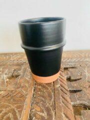 Zwarte Moroccan Garden Set van 2 | Handgemaakte Moderne Beldi Mok | Terracotta | Marokkaanse Espresso Mok