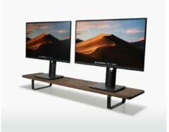Bruine Oakywood Dual Monitor Standaard - Beeldschermverhoger - Walnoot