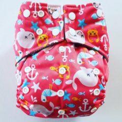 Merkloos / Sans marque A08 AIO One Size Pocket luier walvis roze