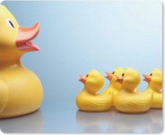 MousePadParadise Muismat Bad eend - Moeder badeend met haar baby's muismat rubber - 23x19 cm - Muismat met foto