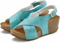 Blauwe LASCANA Sandaaltje, met sleehak en kurkvoetbed