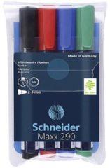 Schneider Whiteboardmarker Maxx 290 Zwart, Rood, Blauw, Groen 129094 4 stuks/pack