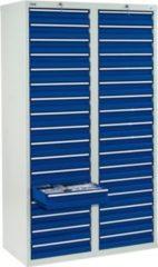 Stumpf Metall Stumpf® STS 410 Schubladenschrank mit 34 Schubladen, lichtgrau / blau - 180 x 100 x 50 cm