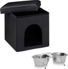 Relaxdays 2er Set Home Sweet Hund Hundebox Sitzhocker mit Tierhöhle Doppelnapf Futternapf