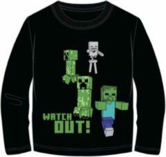 Minecraft t-shirt lange mouw - zwart met Creeper - Steve - Iron Golem maat 116 / 6 jaar