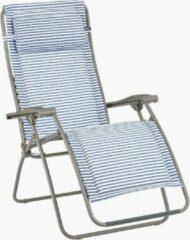 Marineblauwe Lafuma RSX CLIP Gepolsterd - Relaxstoel - Verstelbaar - Inklapbaar - Zero Gravity - Marine gestreept