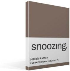 Snoozing percale katoen kussenslopen (set van 2) - 100% percale katoen - 60x70 cm - Standaardmaat - Bruin