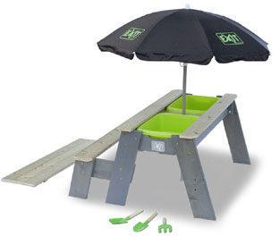 Afbeelding van Groene EXIT Aksent Zand- en Water- en Picknicktafel L met Parasol en Schepjes (1 bankje)
