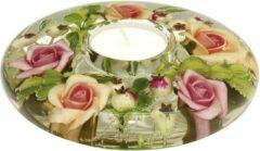 Roze Rawa Geschenken Waxinelichthouder met bloemen Mini Annabell - glas- ovaal - 11x11x4