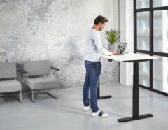 Kantoormeubelen.pro Elektrische Zit Sta Bureau - 160x80 cm - Zwart onderstel - Wit blad