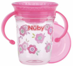 Nûby - Drinkbeker - 360° Wonder cup met handvatten in Tritan™ - Roze - 240ml - 6m+