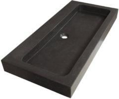 Saniclass Black Spirit meubelwastafel 100cm 1 wasbak 2 kraangaten natuursteen zwart 2386