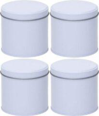 Merkloos / Sans marque 4x Witte ronde opbergblikken/bewaarblikken 10 cm - Stroopwafelblik - Witte koffiepads/koffiecups voorraadblikken - Voorraadbussen