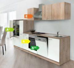Respekta kitchen economy Respekta Küchenzeile KB310ESWOES 310 cm Weiß-Eiche Sägerau Nachbildung