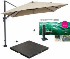 Zwarte Garden Impressions Hawaii zweefparasol 300x300 cm donker grijs/taupe met 90 kg parasolvoet en parasolhoes