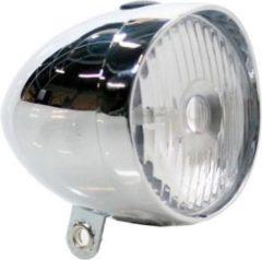 Zilveren K-parts Fietskoplamp Retro 1 LED Chroom
