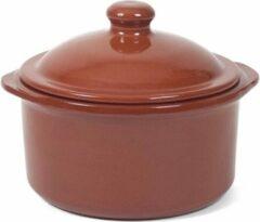 Merkloos / Sans marque 4x Stenen ovenschalen met deksel bruin/ terracotta 18 cm - Terracotta ovenschalen/stoofpotjes