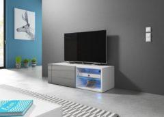 Perfecthomeshop TV Kast Meubel 100 cm Grijs - Inclusief Led - Modern Design