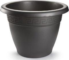Grijze Forte Plastics 1x Antraciete plantenbakken/bloempotten 45 cm - Woon/tuinaccessoires/decoratie - Ronde bloempotten/plantenpotten voor binnen/buiten