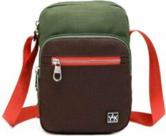 YLX travel gear YLX Adonis Crossbody. Leger groen & bruin. Recycled Rpet materiaal. Eco-friendly