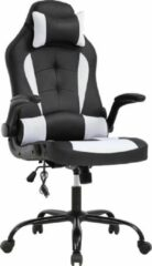 Best Office OC-RC66-White, Ergonomische gaming stoel met hoofsteun en lendensteun, PU-leer bureaustoel, verstelbaar, draaibaar, zwart/ wit