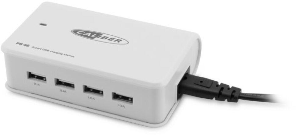 Afbeelding van Witte Caliber USB Hub PS46 220Volt thuislader oplader met 4x USB 4,2 ampere max