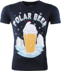 Marineblauwe Ferlucci - Unisex Kerst T-Shirt - Ronde Hals - Polar Beer - Navy