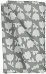 HEMA Tafelzeil 140x240 Polyester - Tulpen Grijs/wit (donkergrijs)